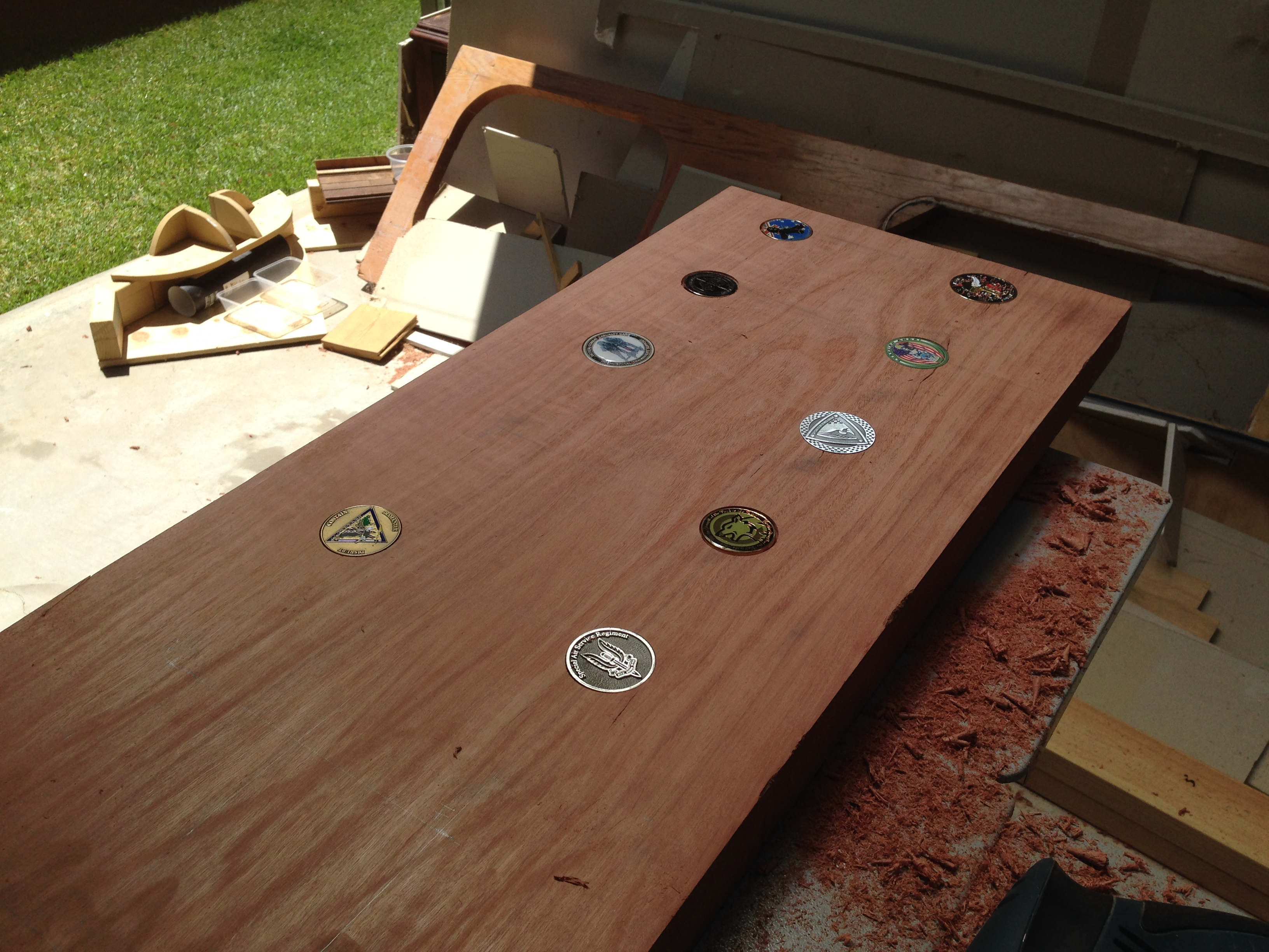 I Certainly Didnu0027t Get All The Holes Perfect, But As I Will Be Covering The Bar  Top With Lacquer, My Plan Will Be To Glue The Coins In Their Holes, ...